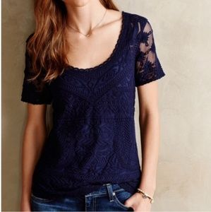 Anthropologie, Meadow Rue Embroidered Navy Lace XS